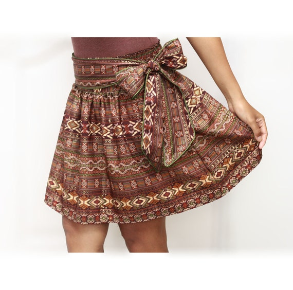 Autumn Dark Brown Mini Skirt Royal Luxury and Gold with Sash Belt
