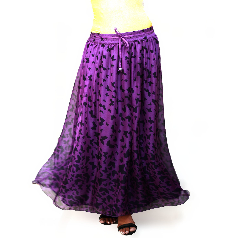 butterfly print purple chiffon maxi skirt by lonadesign