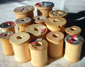 Treasured 14 Vintage Wooden Thread Spools