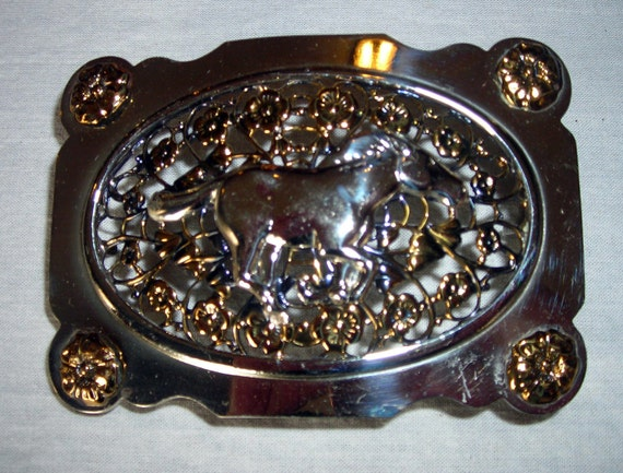 Vintage Lacy Western Cowgirl Belt Buckle with Horse