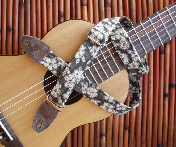 Ukulele Strap with Suede leather ends- Choose from any Guitar Strap Pattern in the Shop
