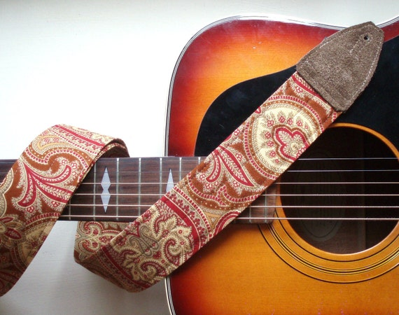 Paisley Guitar Strap in Warm Gold and Copper, Comfortable and Adjustable with Brass or Nickel Hardware and Suede Ends