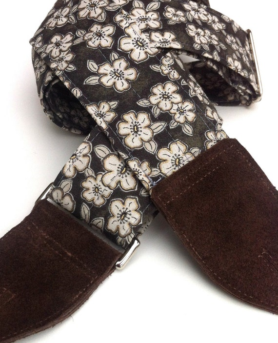 Guitar Strap in Dogwood Print, Comfortable and Adjustable with Nickel Hardware and Suede Ends