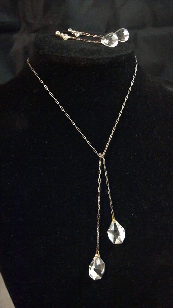 Stunning Edwardian Style Silver Chain & Crystal Lariat and Earrings Set