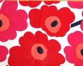 "Marimekko medium pink and red UNIKKO cotton fabric 12"" x 32"""
