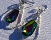Swarovski Medium Vitrail Sterling Silver Teardrop Earrings