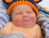 Crochet Chicago Bears Football Hat, photography prop, 3 to 6 months, crochet hat, bear hat