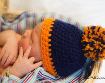 Crochet Chicago Bears Football Hat, crochet hat, pom pom hat, photography prop