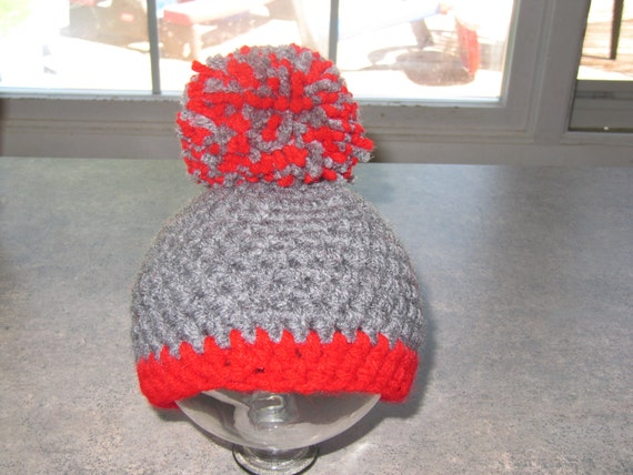 Crochet Ohio State Football hat. photography prop, 0 to 3 months, crochet hat, bear hat