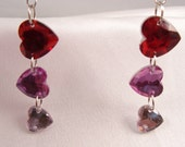 DANGLE EARRINGS HEART Pink Red and White with Silver Colored French Hooks Free Shipping