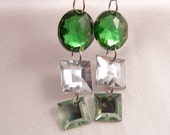 DANGLE EARRINGS Oval Square GREEN with Silver Colored French Hooks Free Shipping