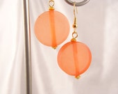 ORANGE DISK EARRINGS with Gold Colored French Hooks Free Shipping