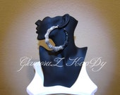 Original Basketball Wives BRILLIANT Crystal Fade2Black Large Bamboo Hoop Earrings