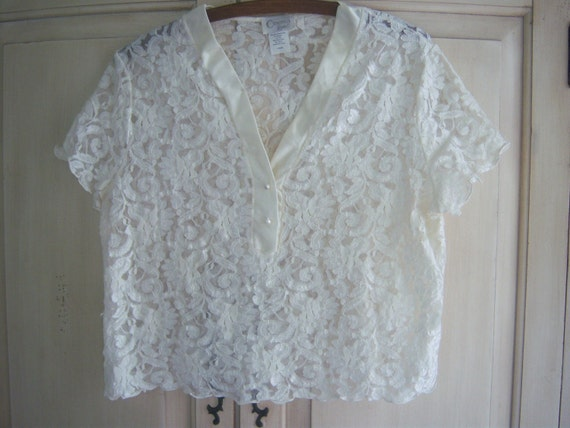 Vintage White Lace Blouse by Cinema Etoile, French Blouse