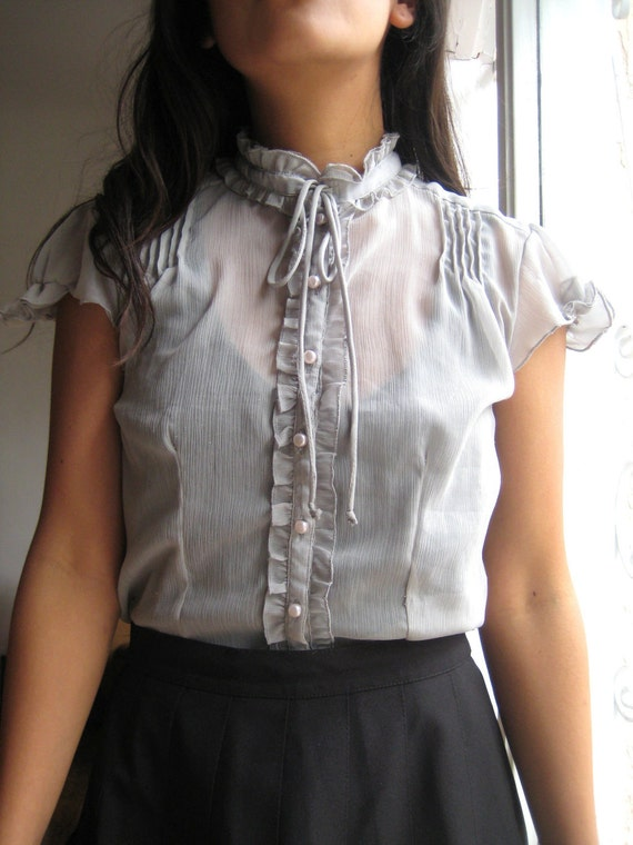 SALE /// Vintage Sheer Ruffly Blouse