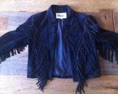 1980s Wilson Black Suede Fringe Jacket - Vintage