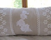 handmade handsewn shabby chic/ cottage chic decorative LUMBAR/ BOLSTER PILLOW
