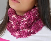 Neckwarmer in Plum and Pink shades wool blend Neck cowl Hood