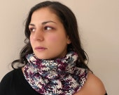 Neckwarmer in multi color ,ivory ,grey ,pink and burgundy shades wool blend Neck cowl Hood