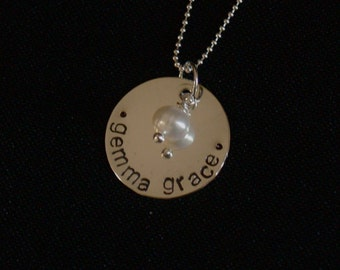 Hand Stamped Sterling Silver Two Name Necklace with Freshwater Pearl
