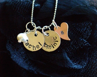Hand Stamped Bride-to-be, Newlywed or Anniverary Sterling Silver Necklace with Copper Heart