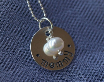 "Hand Stamped Sterling Silver ""mommy"" Necklace with Whimsical Font"