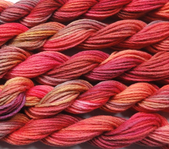 Embroidery Thread, space dyed, Autumn shades