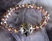 Rose Faceted Crystal- Boho Chic-Celebrity Style- Stackable Bracelet with Pewter Bali Accent Bead-Saint Townsend