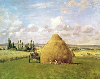 The Haystack, Pontoise by Camille Pissarro - Small Vintage Print Art Book Tipped In Plate - Paper Ephemera