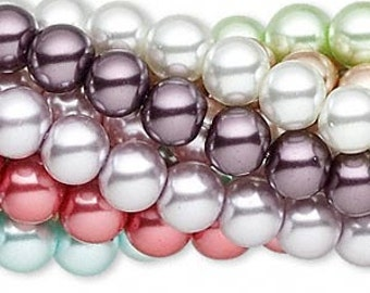 50 Round Glass Pearl Beads In Assorted Pastel Colors 8mm