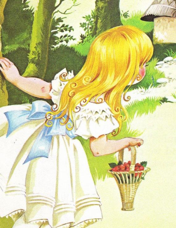 Goldilocks and the Three Bears - Vintage Illustration Storybook Print - Deans A Book of Fairy Tales - Paper Ephemera
