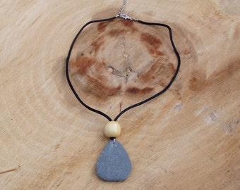 Teardrop beach stone necklace