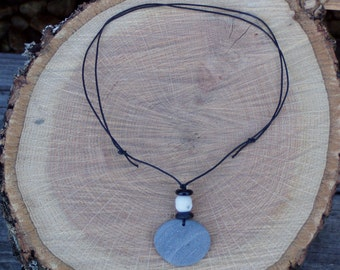 Beach Stone and  Glass Necklace
