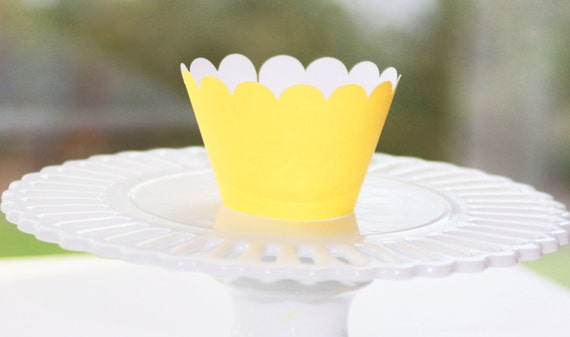 Bright Yellow Cupcake Wrappers - Cupcake Wrappers -Easter / Spring Cupcake Wrappers