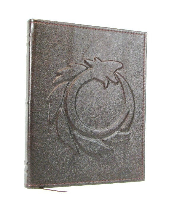 Leather Notebook Cover - Composition Notebook Cover - Ouroboros Design