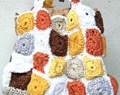 The happiness orange bag.Patchwork cotton crochet shoulder bag.made to order .