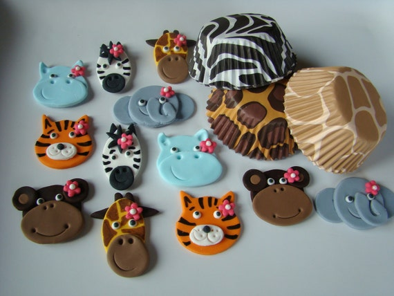 Items similar to edible fondant cupcake toppers and animal for Animal print edible cake decoration