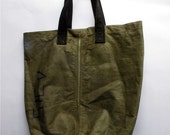 Vintage Waxed Army Duffel Tote