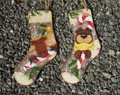 Moose and Bear Sock Ornaments