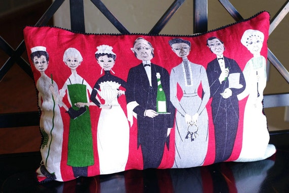 The Downstairs Gang -Downton Abbey Inspired Pillow Cover OOAK