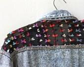 bow and lace backed denim jacket