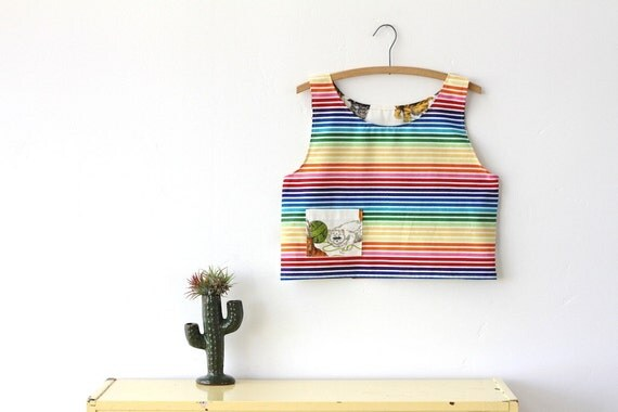 SALE rainbow cat, crop top tank