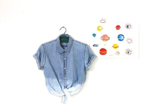 acid dipped two toned denim shirt