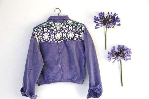 purple denim crocheted jacket