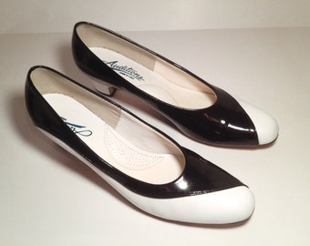 Black and White Vintage Patten Leather Pumps