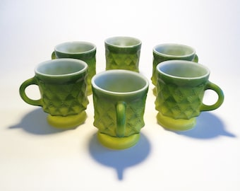 Vintage Set of Six Fire King Avocado Diamond Mugs
