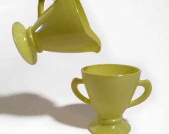 Vintage Chartreuse Yellow Hazel Atlas Cream and Sugar Set