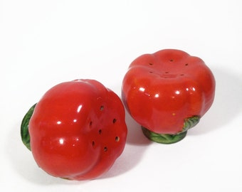 Vintage Tomato Salt and Pepper Shakers from Japan