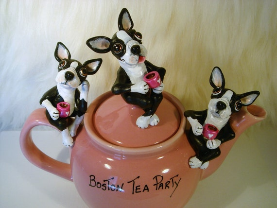 Boston Terrier Tea Party ,Valentines Day, Pet Lovers, dog lovers,Wedding, Bridal Gifts