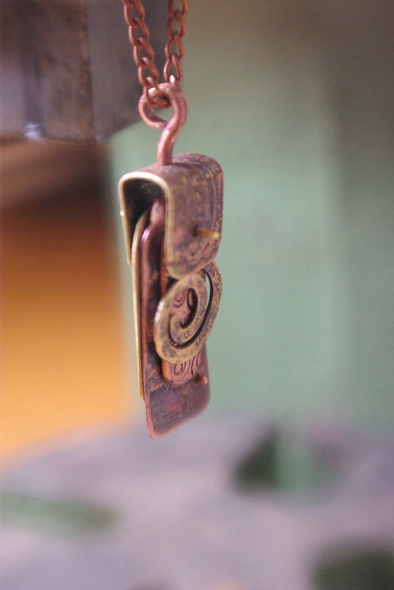 Metalwork necklace, unique etched and stamped copper and brass necklace by Recreate4U